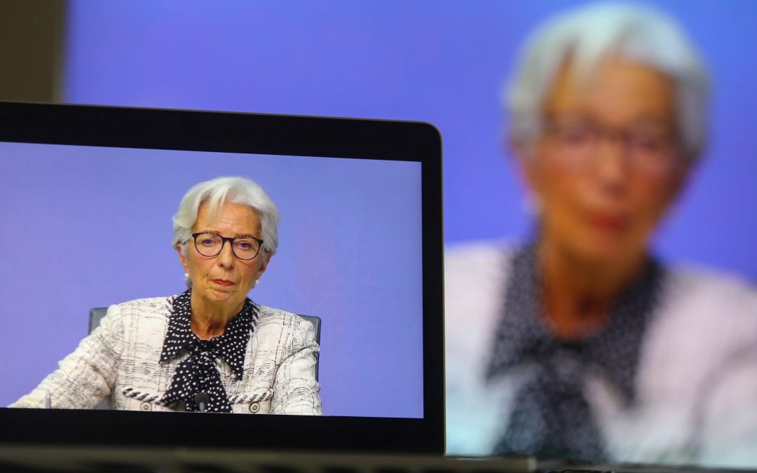 Christine Lagarde speaking after the ECB's latest rate decision